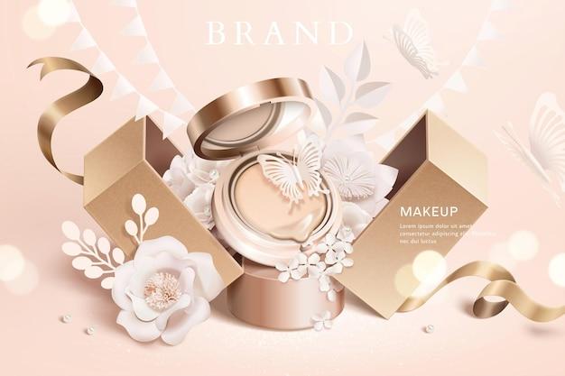 3dイラストの紙の花とギフトボックスとファンデーションクッション広告
