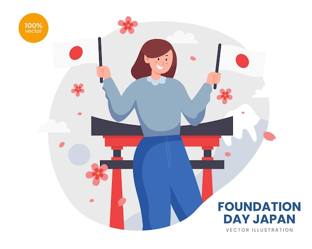 Foundation day japan vector illustration idea, the happy girl hold japan flag to celebrate with shrine, mountain and sakura flower behind.