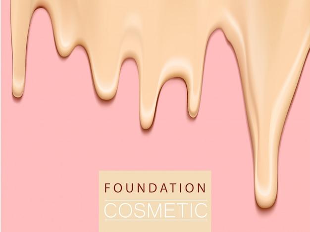 ファンデーションの液体の質感、3 dイラストレーションでクリーミーな肌のトーンのファンデーション、極端にクローズアップ