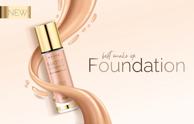 Foundation makeup, advertising design template for catalog with concealer, bb cream packaging tube