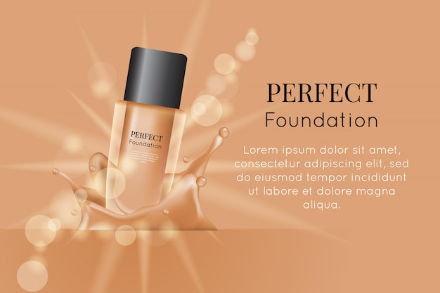Foundation product for ads and promotion Premium Vector