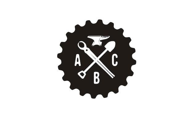 Foundry emblem retro logo design inspiration