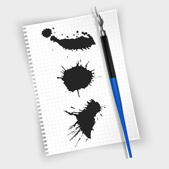 Перьевая ручка, перьевая ручка на листе бумаги, пятна краски черной тушью. реалистичный стиль проиллюстрирован