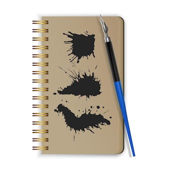 Fountain pen on notepad and black ink paint spots. realistic style illustrated