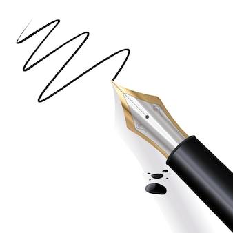 검정 잉크가 있는 만년필 필기 용지