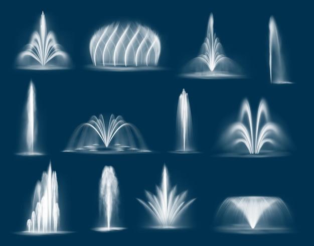 분수 워터 제트는 폭포와 단일 튀는 스트림, 3d 워터 제트가 분출합니다. 공원 장식 및 디자인을위한 상수도 요소. 현실적인 다중 간헐천 흐름 분화 세트