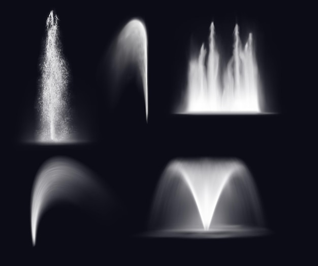 Fountain water jets and splashes, realistic waterfall and stream spray
