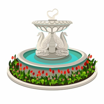 Fountain with swans isolated. vector illustration.