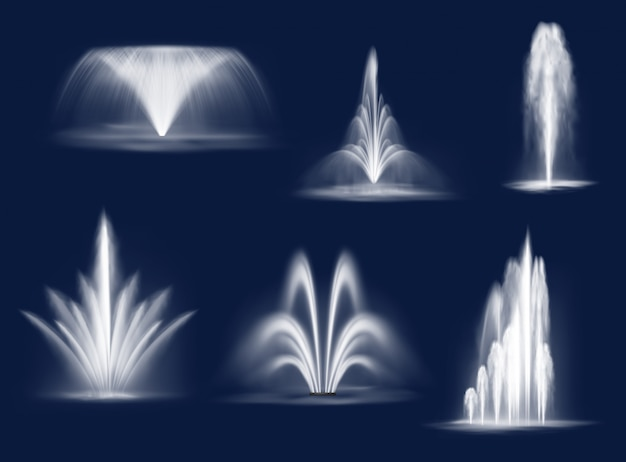Fountains cascades, isolated vector water jets set