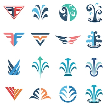 Fountains logos set
