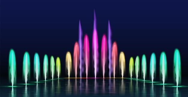 분수쇼. 밤에 현실적인 색깔의 춤추는 물 제트기. 공원 장식용 조명이 있는 분수 캐스케이드, 3d 아쿠아 스프레이 벡터 세트. 사실적인 쇼 조명, 아름다운 엔터테인먼트 디자인