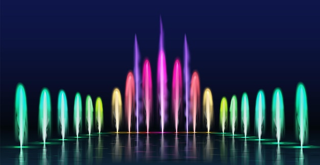 Fountains show. realistic colored dancing water jets in night. fountain cascade with lights for park decoration, 3d aqua sprays vector set. realistic show illuminated, beautiful entertainment design