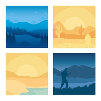 4 개의 추상 장면 풍경 배경