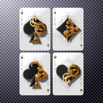 Четыре туза карты с золотым орнаментом, покер казино иллюстрации на прозрачном фоне
