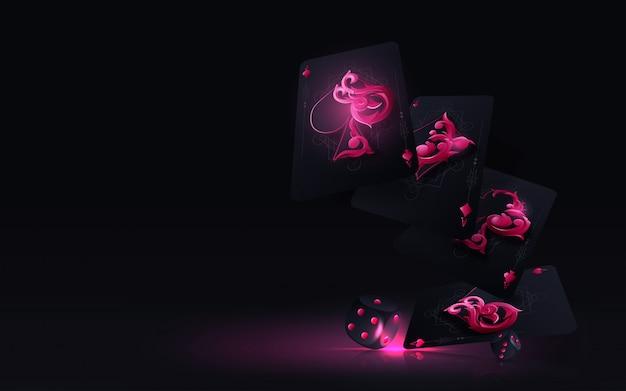 黒の背景に分離されたコンセプトを賭ける4つのエースカード