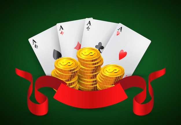 Four aces, golden coins stacks and red ribbon. casino business advertising
