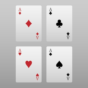Four aces poker card isolated on grey background Premium Vector