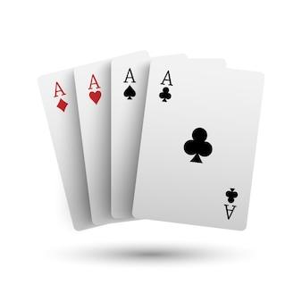 白い背景で隔離の4つのエースポーカーカード
