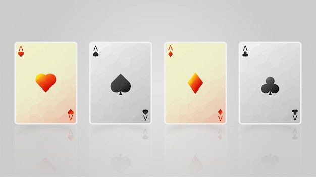 Four aces with light and shadow