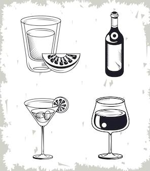 4つのアルコール飲料セットアイコン