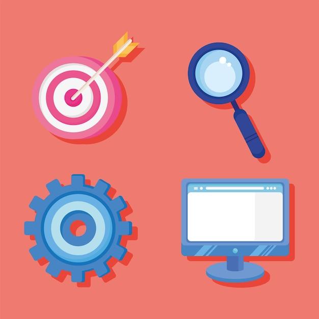 Four analytics graphics icons