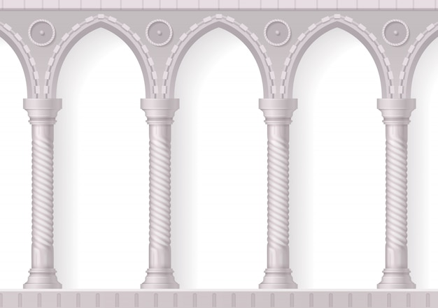 Four antique white columns realistic 3d composition with ribbing on white