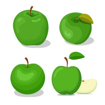 緑のシンプルな漫画の4つのリンゴセット。図。