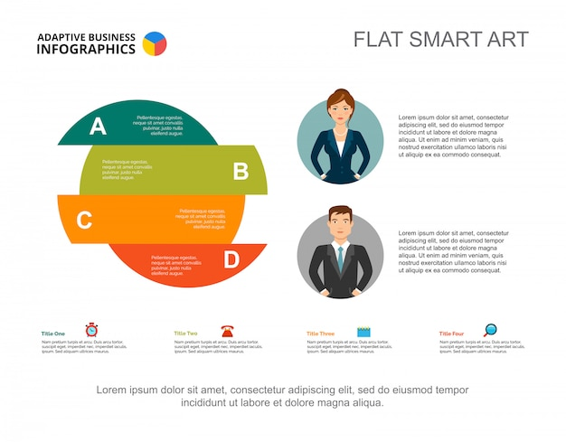 Four area circle chart slide template. graphic presentation with option diagram
