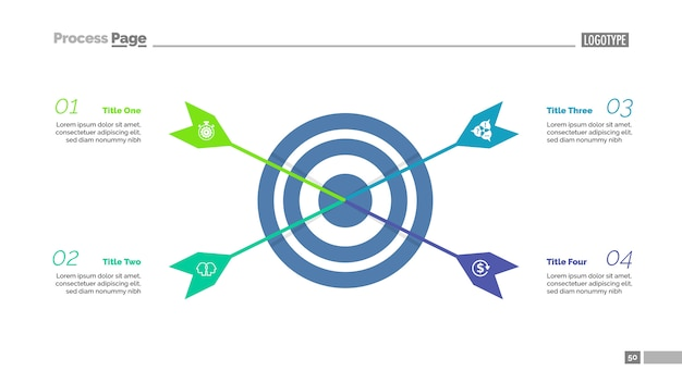 Four arrows hitting target process chart template. business data visualization.