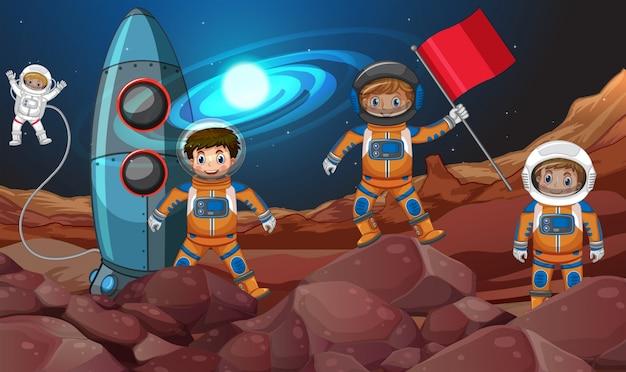 우주에서 4 명의 우주 비행사