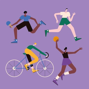 Four athletic men practicing sports