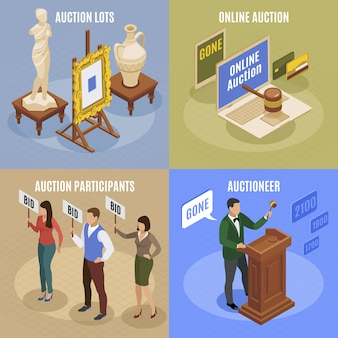 Four auction isometric concept set with auction lots participant and auctioneer descriptions illustration