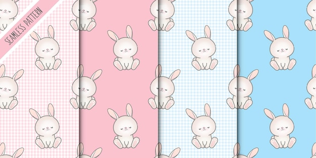 Набор бесшовные шаблоны четыре детские кролики