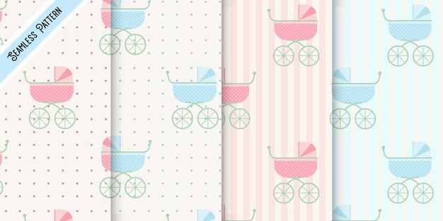 Four baby strollers pink and blue seamless pattern