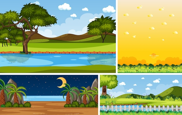 Four background different nature scenes with green trees in different times