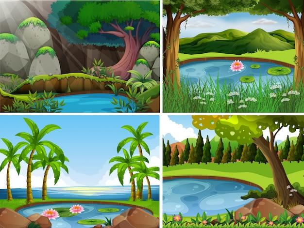 森の4つの背景シーン