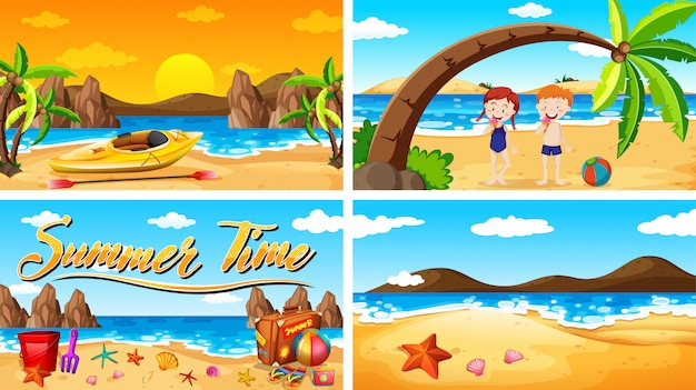 Four background scenes summer theme