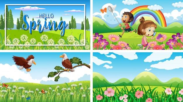 공원에서 어린이와 동물과 함께 4 개의 배경 장면