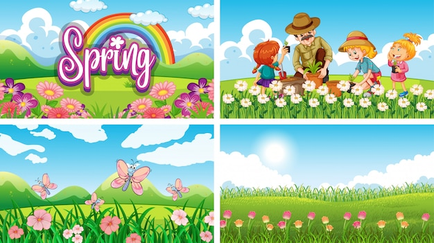 Four background scenes with children and animals in the park