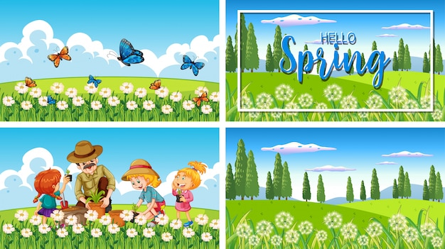 Quattro scene di sfondo con bambini e animali nel parco