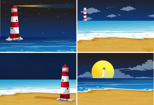 바다에 등대가있는 4 개의 배경 장면