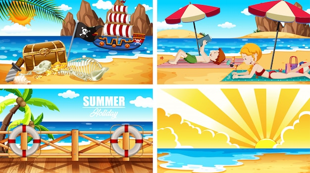 Four background scenes with people on the beach