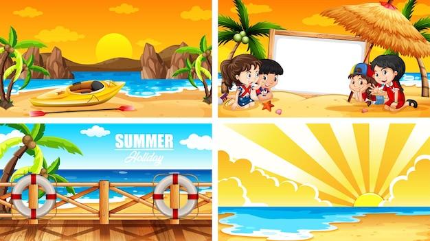 Quattro scene di sfondo con l'estate sulla spiaggia