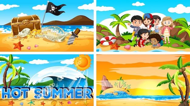 Четыре фоновые сцены с летом на пляже Бесплатные векторы