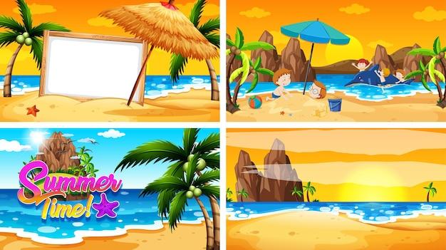 해변에서 여름이 있는 4개의 배경 장면