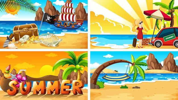 해변에서 여름과 함께 4개의 배경 장면