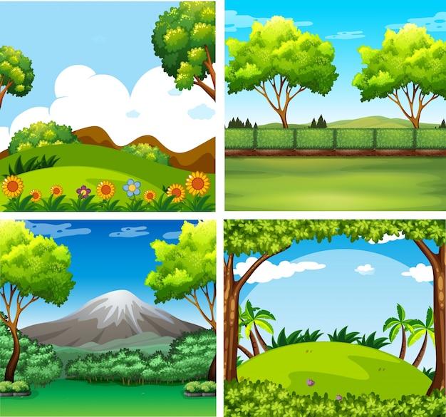 4つの背景の木々とフィールド