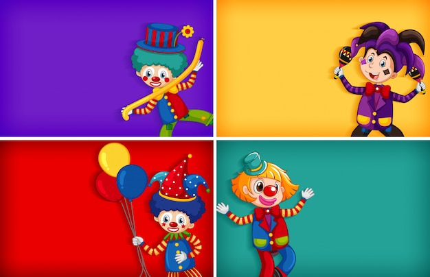 Four background template designs with funny clown