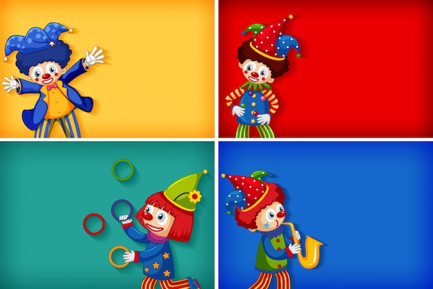 Four background template designs with funny clowns