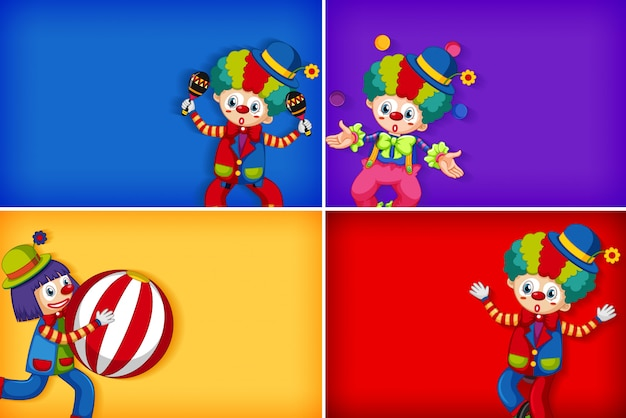 Four background template designs with happy clown